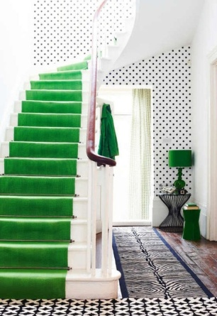 The use of the green on the stairs is way too much! Although the lamp in the corner is a nice touch.