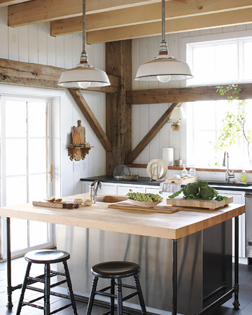 Contemporary kitchen with rustic finishes.