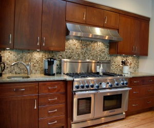 glass tile backsplash, stainless steel appliances, dark cabinets